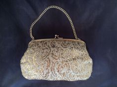 Vintage 1960 s Gold Brocade Framed Evening Bag Gold Chain Retro Kitsch Handbag   £7.79 (6B)