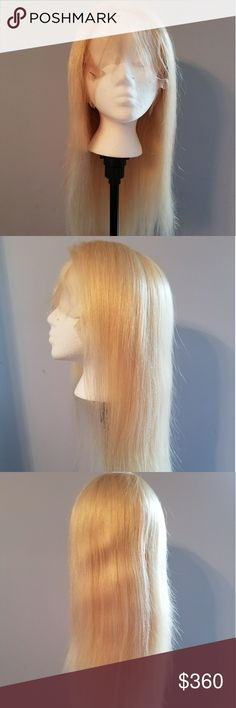 Blonde Brazilian human hair wig Beautiful blonde Brazilian human hair wig. 100% Human Hair Wig, NOT  synthetic or blended! Front lace, 16 inches, #613 color. $360 Can be cut, colored, and styled. This hair is AMAZING! I sell only the best. http://healingwigs.com Contact me with any questions or if you would like a different wig. I carry hair extensions, eyelashes, everything for hair. Healing Wigs Accessories Hair Accessories