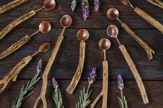 Lavender Wood & Copper Spoons by Jaccob McKay  Handmade from the wood of a lavender bush and copper, these salt and pepper spoons offer an extremely rustic addition to the dining table or...