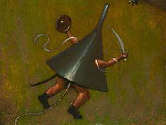 The Funnel Guy - detail from Hieronymus Bosch, The Temptation of St. Anthony (fragment), around 1500–10.Kansas City museum's painting attributed to Hieronymus BoschTemptation of St Anthony in the Nelson-Atkins Museum was believed to be by a pupil of the great Dutch artist