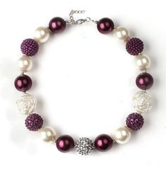 Sugar Plum Holiday Necklace -Pearl & Plum Necklace - Girls Bubble Gum Necklace - Kids Holiday Necklace - Purple Necklace