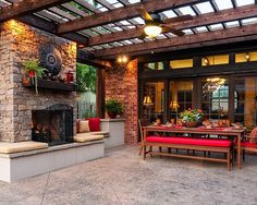 Backyard ideas. Back porch. Outdoor fireplace. Tile, Fence, Trellis, Traditional, Transom