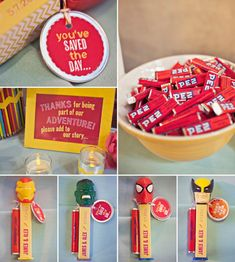 Superhero details.. Pez is a yummy and cheap gift for your guests. Plus it's cute. {Jagger Photography}