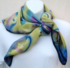 Silk head scarf hand painted: lavender and by ScarvesOfPaintedSilk