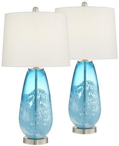 Pacific Coast Blue and White North Glass Table Lamps - Set of 2 Dark Furniture, Simple Furniture, Blue Glass Lamp, Bedroom Lamps, Master Bedroom, Coastal Bedrooms, Table Lamp Sets, Night Lamps, Drum Shade