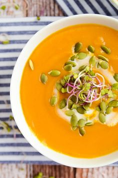 Butternut Squash + Sweet Potato Soup | vegan + gluten-free | blissfulbasil.com
