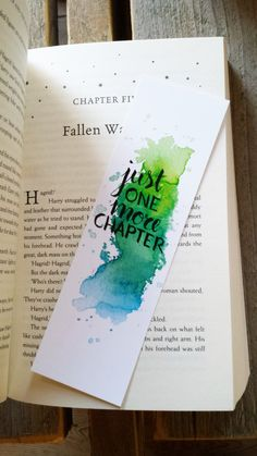 Watercolor Bookmark - Just one more chapter (by Keymarks) by Keymarks on Etsy https://www.etsy.com/listing/476434125/watercolor-bookmark-just-one-more