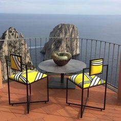 Italian Capri Tria Giallo Iron Chair For Sale