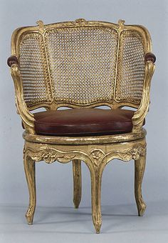 ca. 1760 French carved and gilded desk chair.
