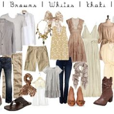 Family picture outfits: browns, beige and white but then I love this too as long as you can find a few statement pieces like that great sleeveless shirt and fab dress