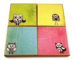 Funky Coaster Set    Tile Coaster  Drink Coasters  Owl Pals. $17.00, via Etsy.
