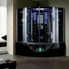 2014 Black Steam Shower Computerized Massage Whirlpool Hot Tub TV Sauna Spa