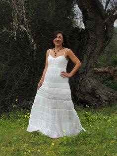 Novia Ibicenca Adlib total..Tony Bonet Ibiza Fashion, White Dress, Dresses, Boyfriends, Style, Dream Dress, Vestidos, Dress, Gown