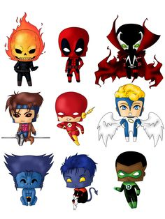 Chibi Heroes Set 2 by Artwaste Deadpool Chibi, Chibi Marvel, Chibi Superhero, Baby Avengers, Anime Chibi, Marvel Characters, Cartoon Characters, Superhero Pictures, Drawing Superheroes