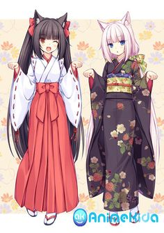 I love these cute nekomimi anime girls. They look cute with their kimonos.