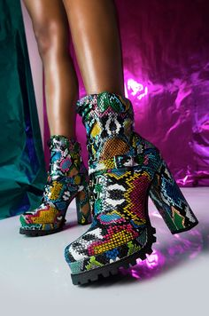 Multi-Colored Python Lace-Up Platform Chunky Heeled Boots With Buckle Detail Thigh High Boots, High Heel Boots, Heeled Boots, Shoe Boots, High Heels, Snakeskin Boots, Sari, Platform Boots, Chunky Heels