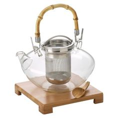 Bonjour Zen Glass Teapot w/ Stainless Steel Infuser, Bamboo Stand and Scoop (42 oz)