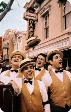 gameraboy:  The Dapper Dans, 1965.From the 1965 Disneyland Tencennial Insert, viaVintage Disneyland Tickets. Morevintage Disney.