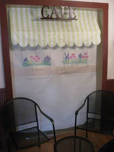 French Cafe - awning from table cloth, drawn window boxes!