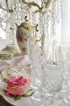 Mismatched glassware.- We have these Wexford stemware glasses for rent for your vintage wedding at Southern Vintage wedding rentals