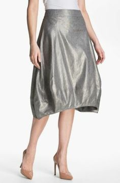 NWT $288 EILEEN FISHER Linen Blended Silver Glimmer Stretch C/L Lantern Skirt L