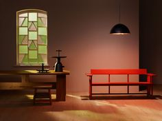 There is something pleasingly ascetic about our take on ecclesiastical design. Konstantin Grcic's serene wooden bench, David Chipperfield's austere stool and table, and Jaime Hayon's modern-day Le Corbusier-inspired totems all bask in the heavenly illumination of Lee Broom's stained glass pendant. #wallpaperdesignawards
