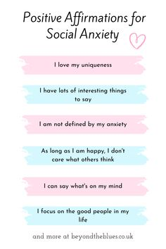 Positive Affirmations for Social Anxiety