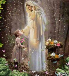 Jesus adoring little girl in garden, prophetic art. Pictures Of Jesus Christ, Religious Pictures, Christian Images, Christian Art, Jesus Art, God Jesus, Image Jesus, Jesus Photo, Jesus Painting