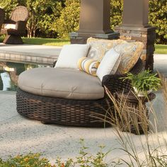 South Hampton Round Chaise Lounge Outdoor Seating, Outdoor Decor, Outdoor Wicker Patio Furniture, Brown Jordan, South Hampton, Cool Furniture, The Hamptons, Lounge, Wallpaper