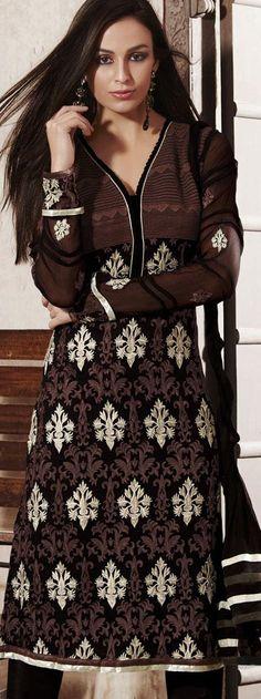 $95.24 Black Full Sleeve Faux Georgette Knee Length Churidar Suit 19766