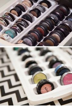 Organize Eye Shadow in an Ice Tray | 21 Life Hacks Every Girl Should Know | Easy Storage Ideas for Girls Bedrooms DIY