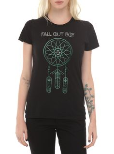 Fitted black tee from Fall Out Boy with a large dreamcatcher design on front.