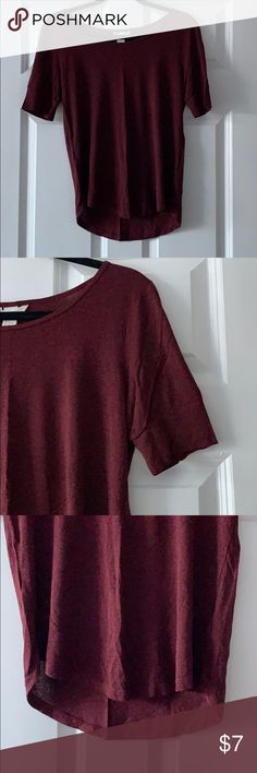 76b06ec7192 H M Basic Tee Quarter Sleeve Brand  H M Size  S Color Maroon Fabric