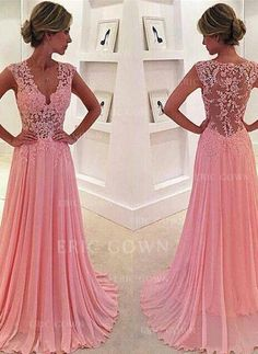 Sparkly Prom Dress, prom dresses,New Arrival a-line v neck pink chiffon lace long prom dress, pink evening dress Ball Gown Prom Formal Dresses For Teens, V Neck Prom Dresses, Pink Prom Dresses, Formal Evening Dresses, Sexy Dresses, Dress Formal, Prom Gowns, Homecoming Dresses, Formal Gowns