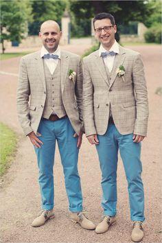 Dapper groomsmen suits. Captured By: Anne-Claire Brun ---> http://www.weddingchicks.com/2014/06/05/vintage-chic-french-wedding/