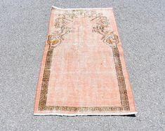 Turkish rug Oushak rug Vintage rug Turkey rug by turkishrugstar Bohemian Rug, Boho Decor, Rustic Decor, Small Area Rugs, Orange Rugs, Rustic Rugs, Floral Rug, Bath Rugs, Pink Rug