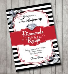 diamonds in the rough, black and white, new beginnings invitation or invite, digital, printable file