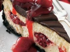 """Chocolate Cherry Cheesecake Recipe ~ Get ready for the """"wow factor"""" when you bring out this beautiful dessert. Looks like it took hours to make, but you can be busy with other things while it's baking (Apple Cheesecake Recipes) Cheesecake Recipes, Cupcake Recipes, Cupcake Cakes, Cupcakes, Dessert Recipes, Cheesecake Desserts, Coffee Cheesecake, Apple Cheesecake, Cheesecake Brownies"""