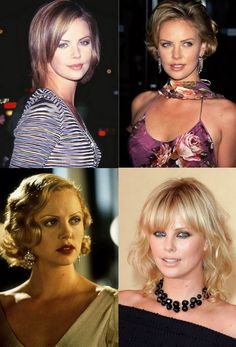 A parade of glam and diverse hairstyles worn by the famous actress Charlize Theron through her career life as; Latest Hairstyles, Short Hairstyles For Women, Charlize Theron Hair, Very Short Hair, Ponytail, Short Hair Styles, Actresses, Beautiful, Faces