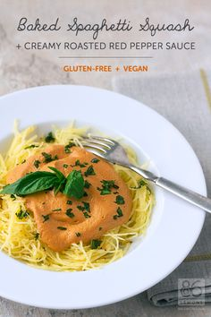 Baked Spaghetti Squash with Creamy Roasted Red Pepper Sauce  #vegan #glutenfree #foodphotography  86lemons.com