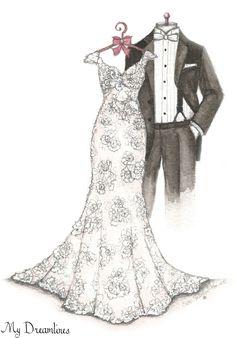 My Dreamlines Wedding Dress Sketch - anniversary gift, wedding gift, wedding gift from the groom to the bride. http://www.mydreamlines.com/