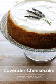 Saving for later because holy wow, this looks amazing! -- Lavender Cheesecake by Gimme Some Oven Nutella Brownies, Just Desserts, Delicious Desserts, Yummy Food, Cheesecake Recipes, Dessert Recipes, Yummy Treats, Sweet Treats, Cupcake Cakes