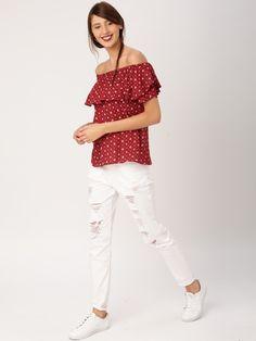 725d98665dee81 Buy DressBerry Women Maroon Printed Off-Shoulder Top online