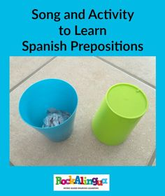 Spanish song about location. It asks ¿Dónde está mi tarea? With paper and a cup (one if they use a hand for entre) they can represent the prepositions as they sing. Fun!