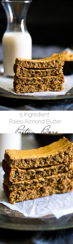 Paleo Almond Butter Homemade Protein Bars - 5 ingredients, one bowl and 20 minutes is all you need to make these soft and chewy bars! The a healthy, portable snack!   Foodfaithfitness.com   @FoodFaithFit