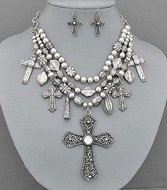 Rhinestone Cross Western Jewelry Necklace Earrings Set | eBay