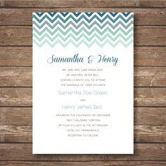 Printable Chevron Wedding Invitation Suite Ombre