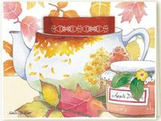Kimberly Shaw Fall Leaves Tea Card - Roses And Teacups