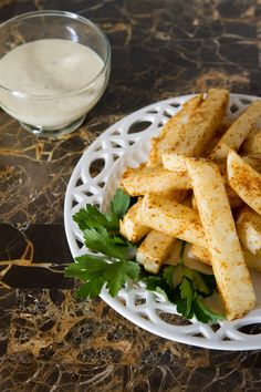 Ultra easy fries made of raw jicama, a tuberous root that's really similar to a turnip (but way tastier).
