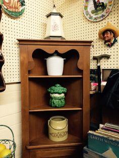Maple corner cabinet with cookie jars